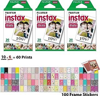 Fuji Mini Instant Film 6 x 10 Packs 60 Prints with Frame Stickers