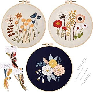 Embroidery Starter Kit with Patterns, 3-Set Embroidery Kit for Beginners, Cross Stitch Needlepoint Craft Kits, Floral Patt...