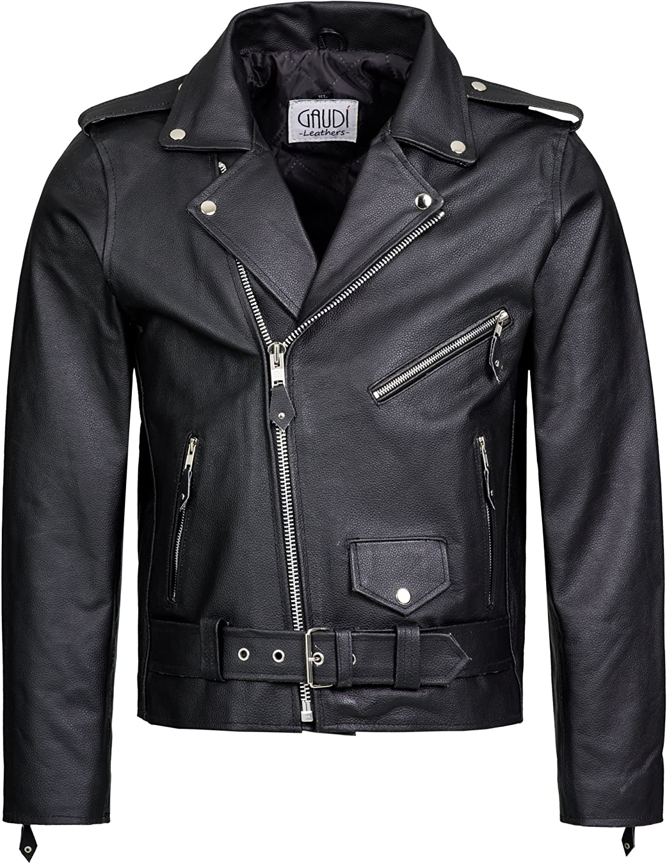 Gaudi-Leathers Pantalones de Cuero 100/% Cuero genuin Muy Bueno Pantalones de Moto con Cordones Laterales Racewear Negro 36