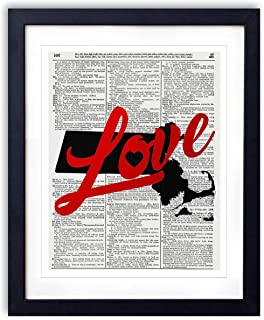 Massachusetts Love Red Foil Stamped Art Print - Vintage Dictionary Reproduction Art Print