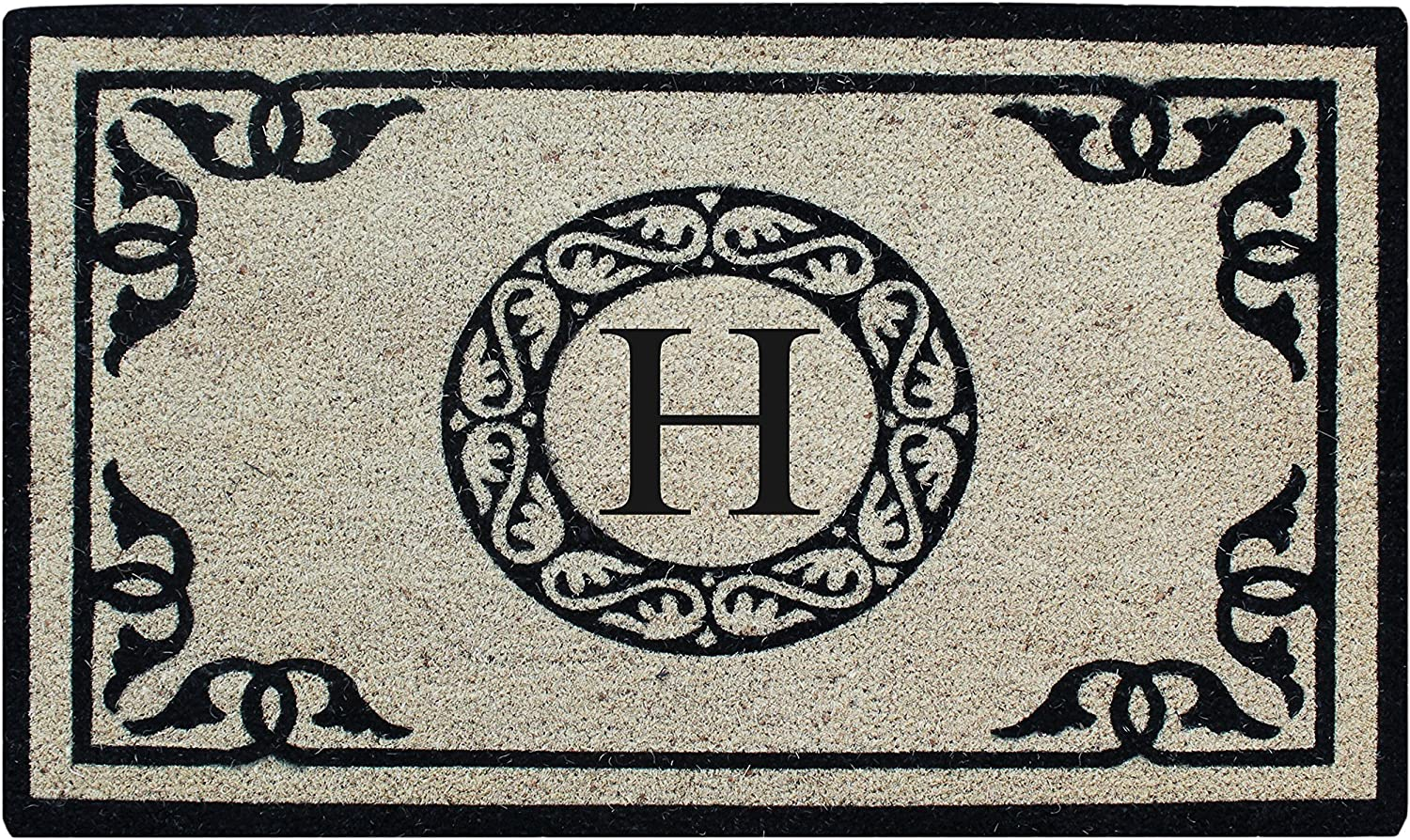 A1 Home Collections PT3006-1-H First Impression Hand Crafted by Artisans Bleach Printed Monogrammed Doormat, 24 X36