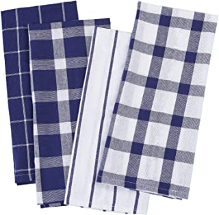 Aneco 4 Packs Check Plaid Dish Towels Oversized 18 x 28 inches Cotton Kitchen Dish Towels Fast Drying Cotton Tea Towels for Drying Cleaning Cooking Baking
