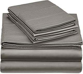 Pinzon 400-Thread-Count Egyptian Cotton Sateen Pleated Hem Sheet Set - California King, Sterling