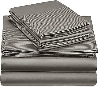 Pinzon 400-Thread-Count Egyptian Cotton Sateen Pleated Hem Sheet Set - Full, Sterling