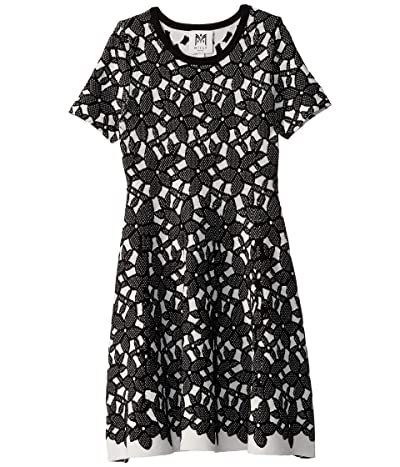 Milly Minis Floral Mesh Jacquard Dress (Big Kids) (White/Black) Girl