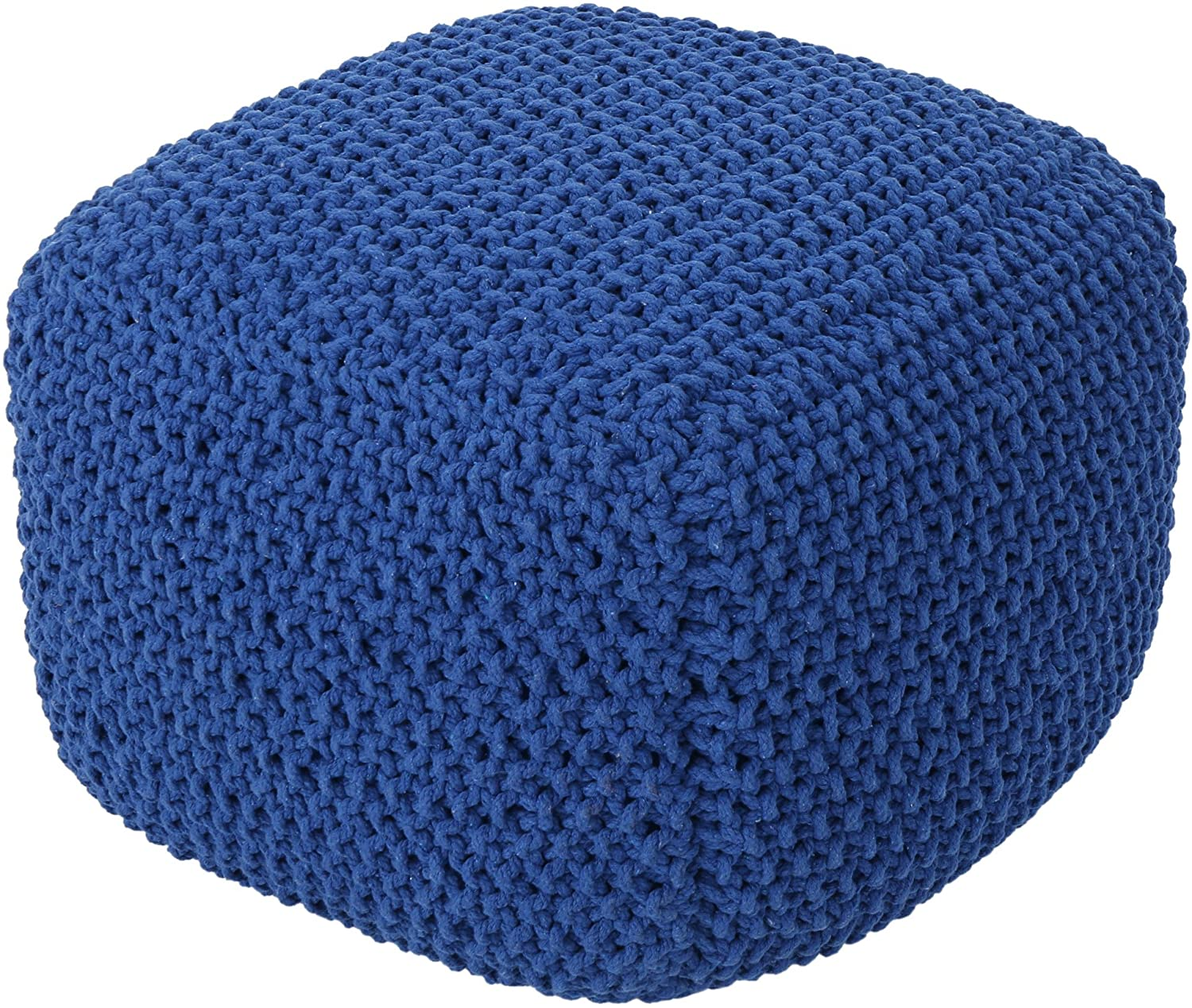 In stock Christopher Knight Max 45% OFF Home Knox Pouf Knitted Cotton Navy