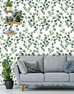 Removable Peel 'n Stick Wallpaper, Self-Adhesive Wall Mural, Watercolor Floral Green Pattern, Nursery, Room Decor • Eucalyptus Round Leaves (24