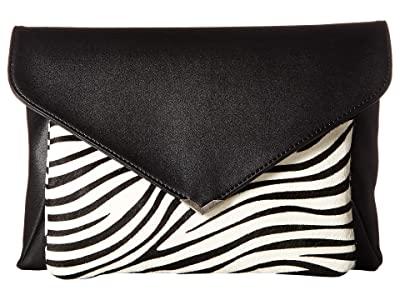 Sam Edelman Mila 2-in-1 Clutch (Black/Zebra) Handbags
