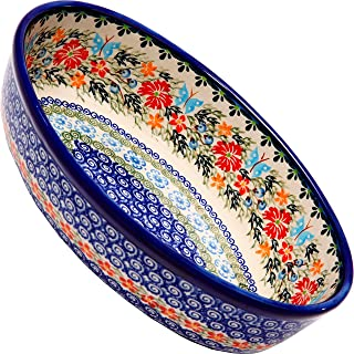 Polish Pottery Ceramika Boleslawiec Oval Mirek Baker 2, 9-2/3-Inch by 6-7/10-Inch, 5 Cups, Royal Blue Patterns with Red Co...