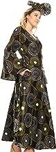 Sakkas Tale Women's Maxi Long Sleeve Wrap Dress with Pockets African Ankara Print