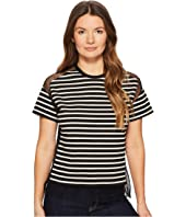 RED VALENTINO - Striped T-Shirt with Point D'Esprit