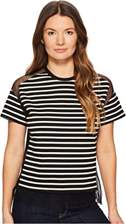 Striped T-Shirt with Point D'Esprit