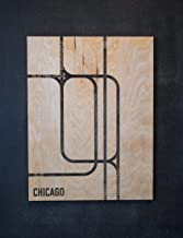 3D Chicago Loop L-Train Transit Map EL System Wooden Wall Hanging