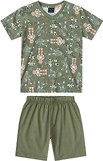 Pijama Camiseta E Bermuda Em Meia Malha Pais E Filhos Quimby