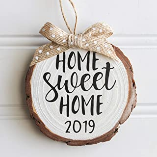 Home Sweet Home 2019 Wood Slice Christmas Ornament (Gift Box Included) White w/Burlap