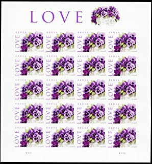 LOVE: Pansies in a Basket Collectible Stamp Sheet of Twenty 44 Cent Stamps Scott 4450