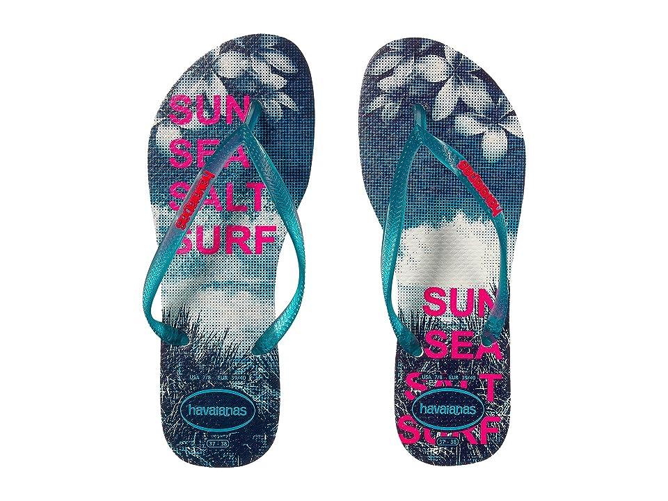 Havaianas Slim Paisage Flip Flops (White/Turquoise) Women