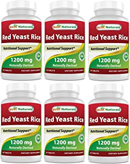 Best Naturals Red Yeast Rice 1200 Mg Tablet for Healthy Cholesterol Level, 60 Count (Pack of 6)