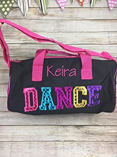 Personalized Dance Bag, Toddler Dance Bag, Dance Duffel Bags for Girls, pink and black, fushia 15x9