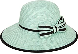 Aerusi Ladies Women Straw Panama Summer Beach Sun Hat Trilby Fedora w, Bow Band