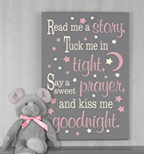 Tamengi Read Me A Story Tuck Me in Tight Sign for Baby Girl Nursery Wall Decor Read Me A Story Sign Neutral Nursery Decor Baby Gift Read Sign 12x20inch