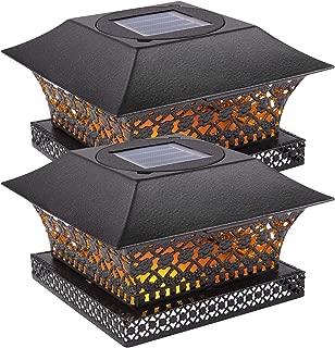 Siedinlar Solar Post Lights Outdoor Fence Deck Caps Light Solar Powered Metal Warm White LED Lighting Waterproof for Garden Patio Decoration 4x4 or 5x5 Wooden Posts Black (2 Pack)