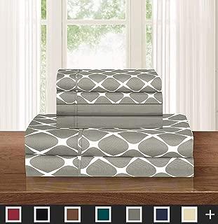 Elegant Comfort Luxury Softest 6-Piece Sheet, Wrinkle Resistant Milano Trellis Pattern 1500 Thread Count Egyptian Quality Coziest Bedding Set, Queen, Grey