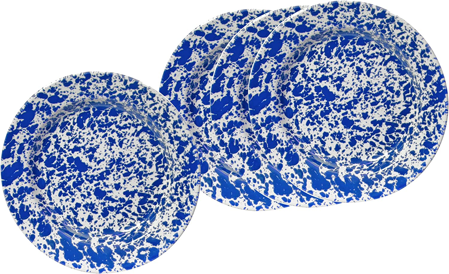 Crow Canyon Enamelware Round Dinner Salad Serving Plates, Classic Tableware - Set of 4 - bluee Marble, 10.25 Inches
