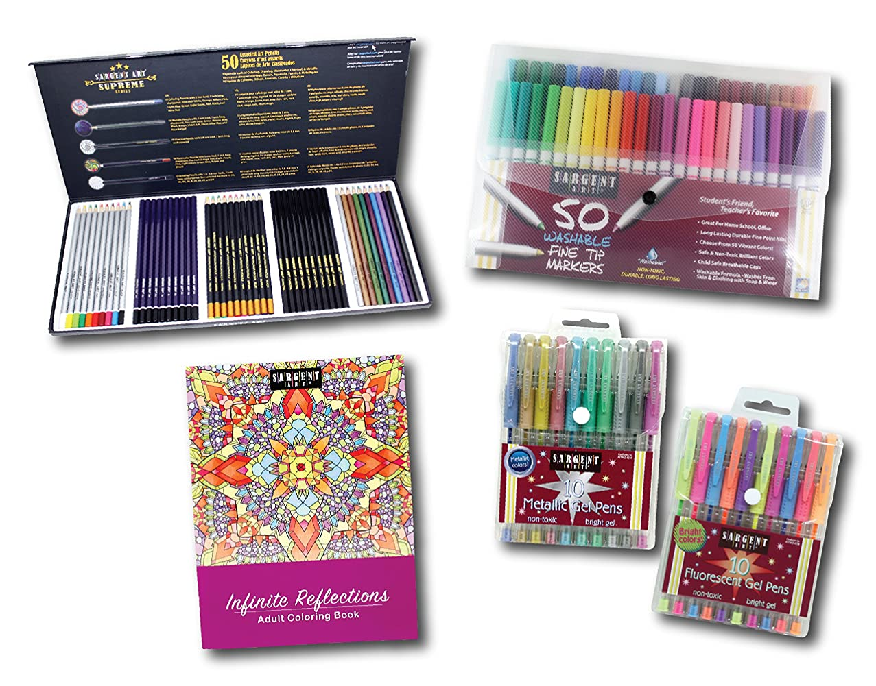 Sargent Art 22-0048 Advanced Artist Kit 5 Piece Art Activity Set, Pencils, Markers, Gel Pens, Coloring Book
