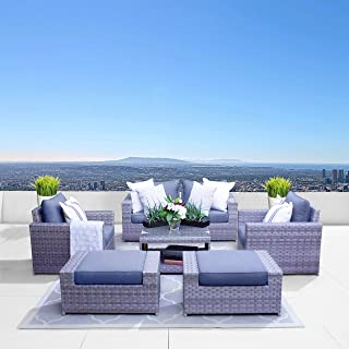 SunHaven Resin Wicker Outdoor Patio Furniture Set - 7 Piece Conversation Sectional Premium All Weather Gray Rattan Wicker, Aluminum Frame with Deluxe Fade Resistant Olefin Cushion (Kensington 7 Pcs)