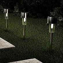 مصابيح طريق شمسية من بيور جاردن 50-LG1067 - 12 بوصة من الفولاذ المقاوم للصدأ الإضاءة الخارجية للحديقة والمناظر الطبيعية وا...