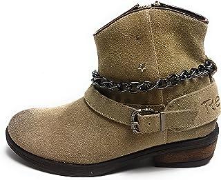 Replay Kingston meisjes schoenen - laarzen - enkellaarzen - dames laarzen echt leer taupe/beige - maat 33 EU