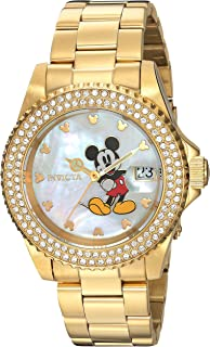 Invicta Women's Disney Limited Edition Quartz Watch with Stainless-Steel Strap, Gold, 9 (Model: 24751)