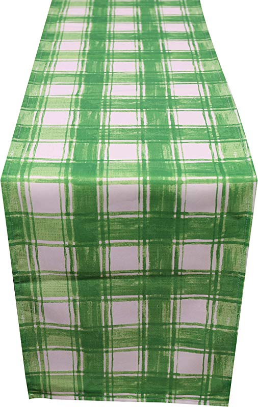 COLORIGHT Outdoor Table Runner Green Plaid 14x72