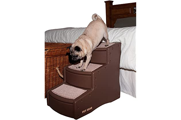 Pet Gear Easy Step III Pet Stairs, 3-Step for Cats/Dogs, Removable Washable Carpet Treads