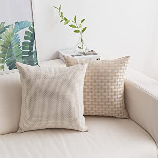 """HOME BRILLIANT Pack of 2 Linen Throw Pillow Covers Woven Textured Decorative Square Accent Cushion Covers Set for Sofa 18""""..."""