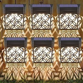 Molbory Lampe Solaire Exterieur Jardin, 6 Pièces Éclairage Mural D'extérieur IP54 Étanche Lampe de Clôture Solaire Lumière...
