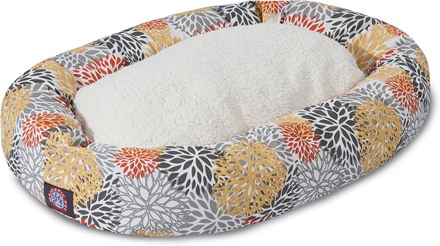 Majestic Pet Products Citrus Blooms Sherpa Bagel Dog Bed
