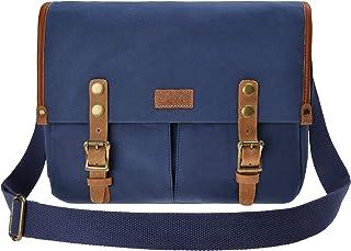 ZLYC Unisex RetroEchtleder und Segeltuch Canvas Kameratasche Messenger Bag Büchertasche für DSLR-Kamera und Linse