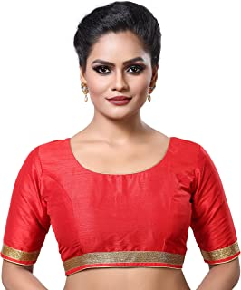MADHU FASHION's Poly Raw Silk Stitched Saree Blouse with Elbow Length Sleeves