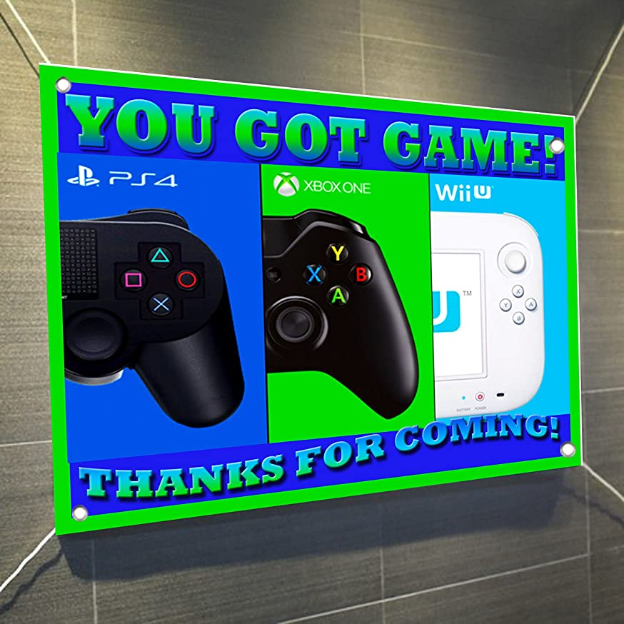 YOU GOT GAME Banner Video Game Controller Large Vinyl Indoor or Outdoor Banner Sign Poster Backdrop, party favor decoration, 30