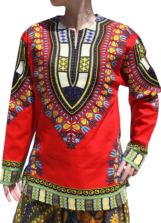 Raan Pah Muang Open Collar Long Sleeve African Dashiki Print Dance to Afrika Shirt