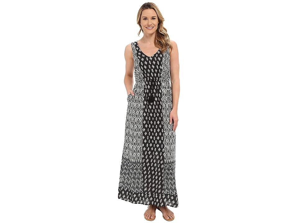 Lucky Brand Woodblock Mixed Dress (Black Multi) Women
