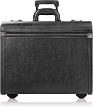 Solo Lincoln Rolling Catalog Case with Dual Combination Locks - Rolling Briefcase for Men and Women. Telescoping Handle System with Wheels - Black