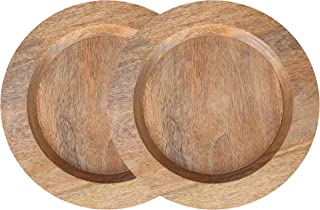 Wood Serving Charger Plates - Dinnerware Round Rustic Thanksgiving Centerpiece Tableware dining for sandwiches, salad, finger foods, cheese, burgers, appetizers- Pack of 2 measure 13 inches - NATURAL