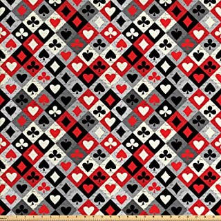 Lunarable Casino Fabric by The Yard, Checkered Rhombus Pattern with Playing Card Grunge Display Gaming Club Theme, Decorative Fabric for Upholstery and Home Accents, 3 Yards, Black Red