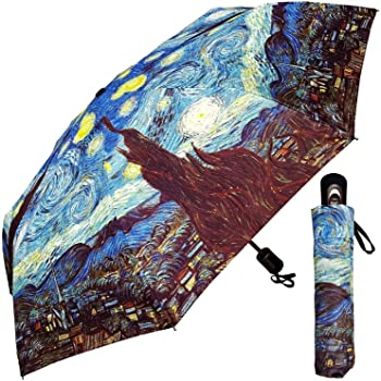 InterestPrint Custom Eagle Starry Night Anti Sun UV Foldable Travel Compact Umbrella