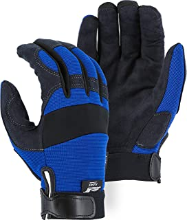 Majestic Glove Blue Synthetic Leather Mechanics Glove Armorskin 2137BL (1 Pair) (Extra Large)