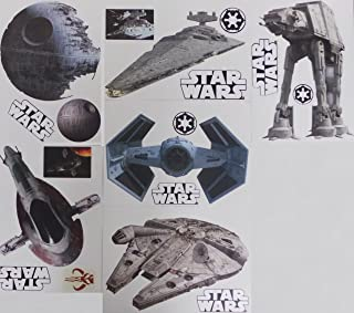 FATHEAD Star Wars Set of 18 Vinyl Wall Graphics Re-Usable and Removable Decals: Death Star, Millenium Falcon, Star Destroyer, TIE Advanced X1 Starfighter, Slave 1, at-at (Main Graphics 7