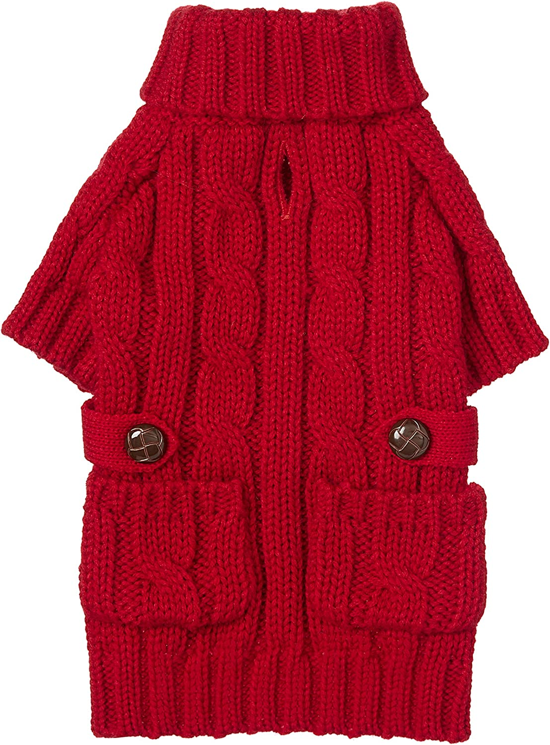 Fab Dog Chunky Turtleneck Dog Sweater, Red, 10Inch Length